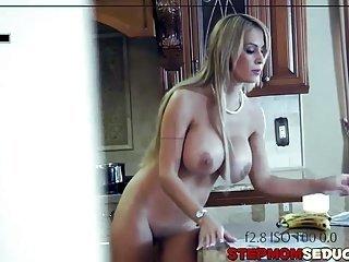 Busty blonde milf Alyssa teaches Alina Li how to fuck hard