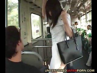 Uncensored Jaanese public bus sex three guys one teen idol