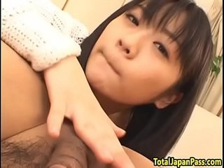 Hairy asian teen gets creampied in threesome
