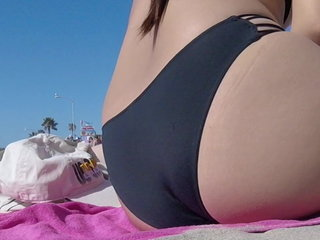 Nerdy Fat Bum Japanese at the Beach