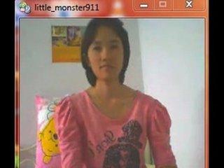 thai student on webcam