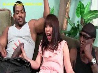 Asian Suck a Pair of Hung Black Men