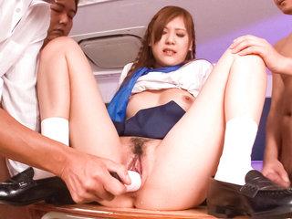 Teen babe Yura Kasumi and three curious teachers in the night classroom